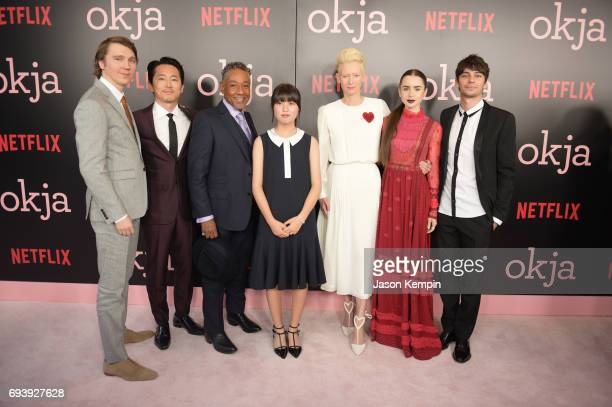Cast Paul Dano Stephen Yeun Giancarlo Esposito An Seo Hyun Tilda Swinton Lily Collins and Devon Bostick attend Okja New York Premiere at AMC Loews...