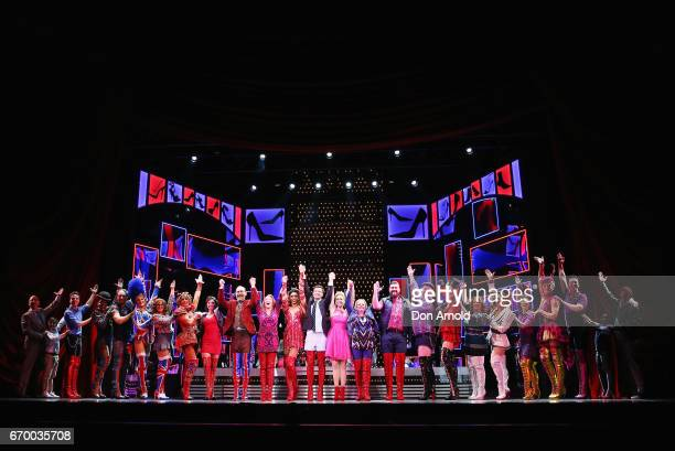 Cast perform during a dress rehearsal of Cyndi Lauper's Kinky Boots at Capitol Theatre on April 19 2017 in Sydney Australia