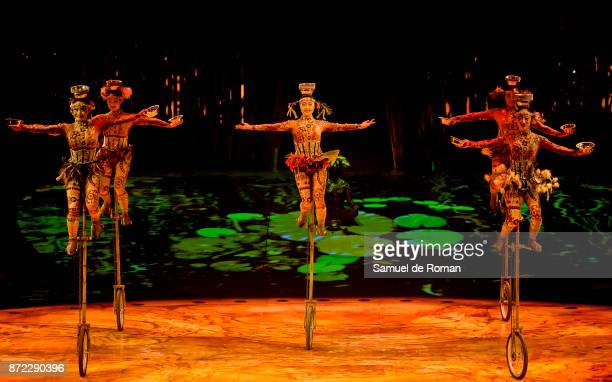 Cast perform during a performance of 'Cirque Du Soleil Totem' in Madrid on November 9 2017 in Madrid Spain