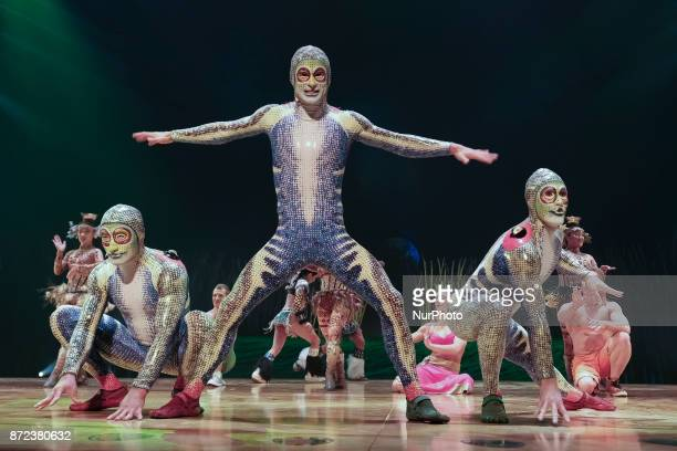 Cast perform during a performance of 'Cirque Du Soleil Totem' in Madrid on November 9 2017 in Madrid Spain TOTEM is the last circus tent show on tour...