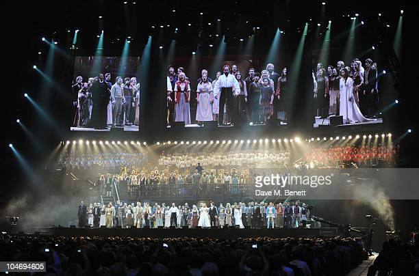 Cast performs on stage during the anniversary performance of 'Les Miserables' at The O2 Arena on October 3 2010 in London England