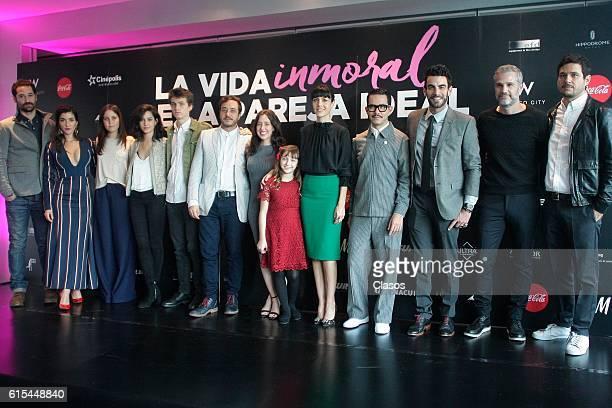 Cast poses during the presentation of the movie 'La Vida Inmoral de la Pareja Ideal' on October 17 Mexico City Mexico