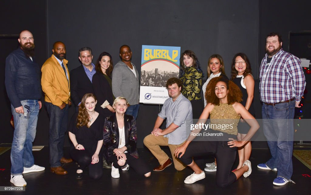 Cast poses for portrait at the MaximumFun.org Comedy Podcast photo call at Dynasty Typewriter at the Hayworth on June 12, 2018 in Los Angeles, California.