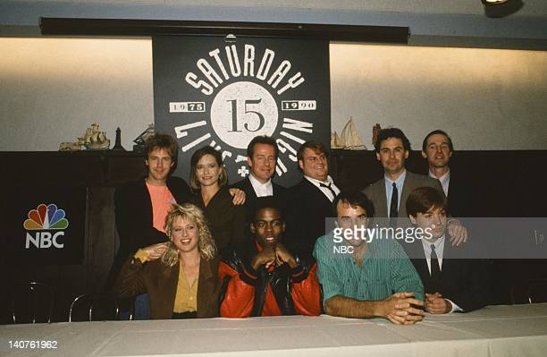 LIVE Cast Press Conference Pictured Dana Carvey Julia Sweeney Phil Hartman Chris Farley Dennis Miller A Whitney Brown Victoria Jackson Chris Rock...