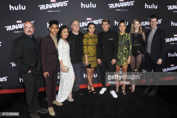 Cast Rhenzy Feliz Lyrica Okano Ariela Barer Virginia Gardner Allegra Acosta and Gregg Sulkin arrive for the Premiere Of Hulu's Marvel's Runaways held...