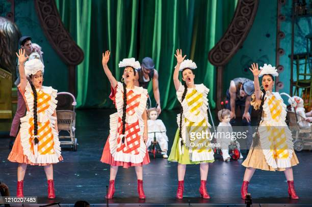 MADRID SPAIN – FEBRUARY 29 Cast singers perform during the dress rehearsal of the Zarzuela 'Agua azucarillos y aguardiente' by Federico Chueca on...