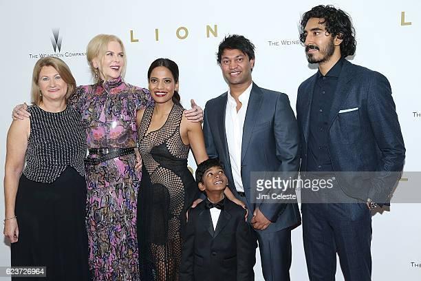 Cast Sue Brierley Nicole Kidman Priyanka Bose Sunny Pawar Saroo Brierley and Dev Patel attends the New York Premiere of The Weinstein Company's Lion...