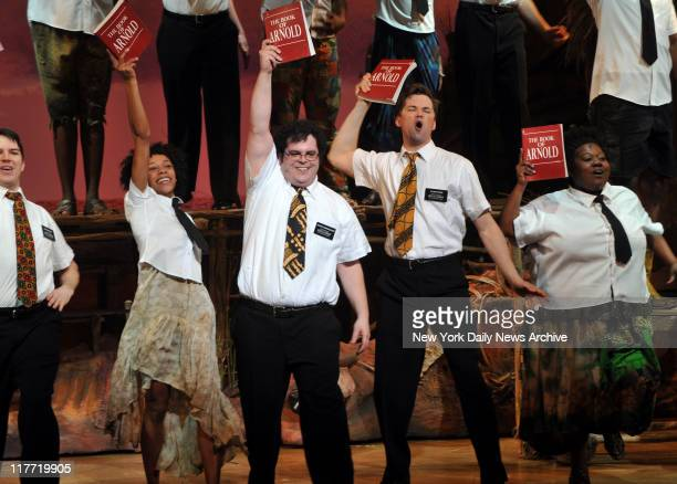 Cast takes Bows at the Opening Night of the Broadway Play 'The Book Of Mormon' held in the Eugene ONeill Theatre Nikki M James Josh Gad and Andrew...
