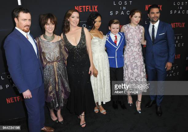 Cast Toby Stephens Molly Parker Parker Posey Taylor Russell Maxwell Jenkins and Mina Sundwall arrive for the Premiere Of Netflix's 'Lost In Space'...