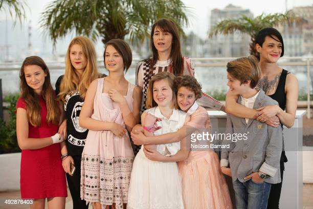 Cast with actors Charlotte Gainsbourg Giulia Salerno director Asia Argento and actor Andrea Pittorino attend the 'Misunderstood' photocall at the...
