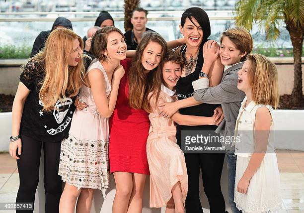 Cast with Giulia Salerno director Asia Argento and Andrea Pittorino attend the 'Incompresa' photocall during the 67th Annual Cannes Film Festival on...