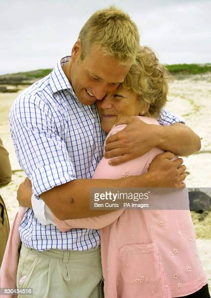 BBC Castaway Ben Fogle hugs his mother Julia who he has not seen for seven months as the Castaways have their first family visit on the island of...