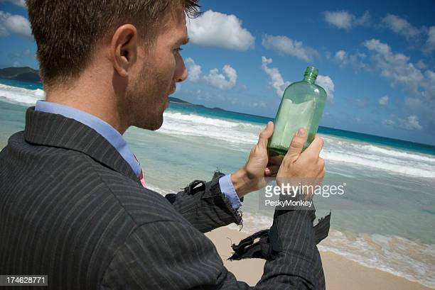 Castaway Businessman Message in a Bottle
