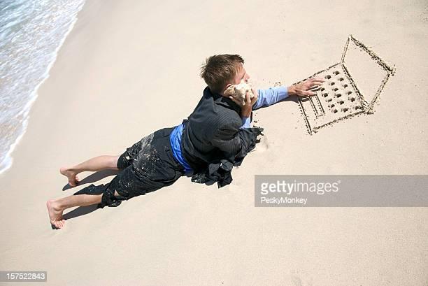 Castaway Businessman Multitasking Working on Beach