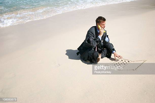 Castaway Businessman Talks w Bananaphone and Types on Sand