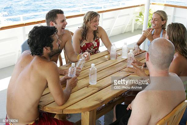 Castaway Gregg Carey with his friend Greg Katie Gallagher with her brother inlaw Stan and Jennifer Lyon with her sister Kim of the Koror tribe after...