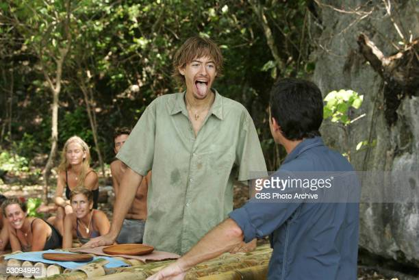 Castaway Ian Rosenberger during the reward challenge Cool Hand Ballut during the eiight episode of Survivor Palau Jeff Probst explains the rules
