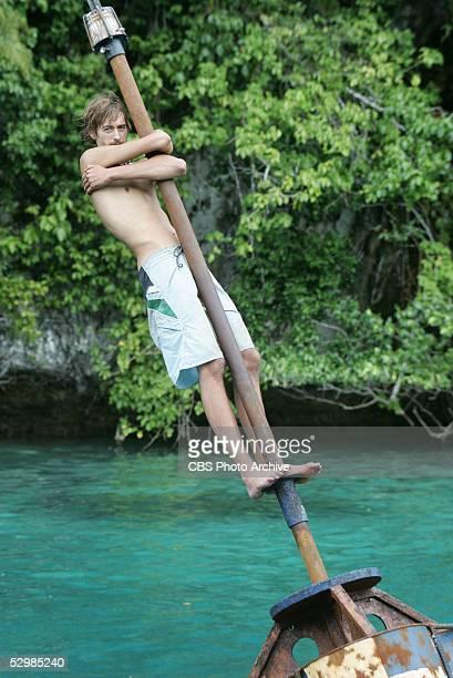 Castaway Ian Rosenberger of the Koror tribe during the immunity challenge Bob Bob Buoy during the final episode of Survivor Palau