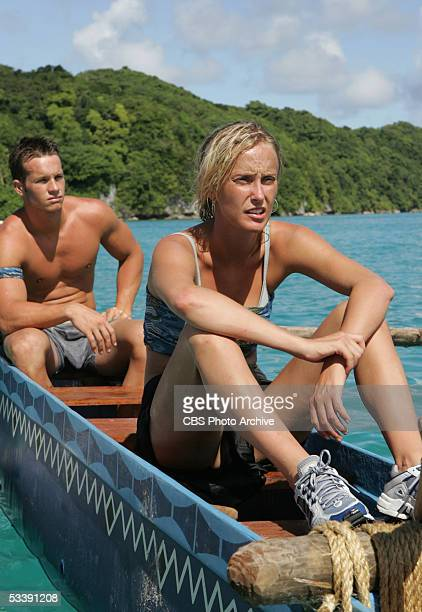 Castaway Jeff Wilson and Kim Mullens of the Olong tribe during the second episode of Survivor Palau on the CBS Television Network