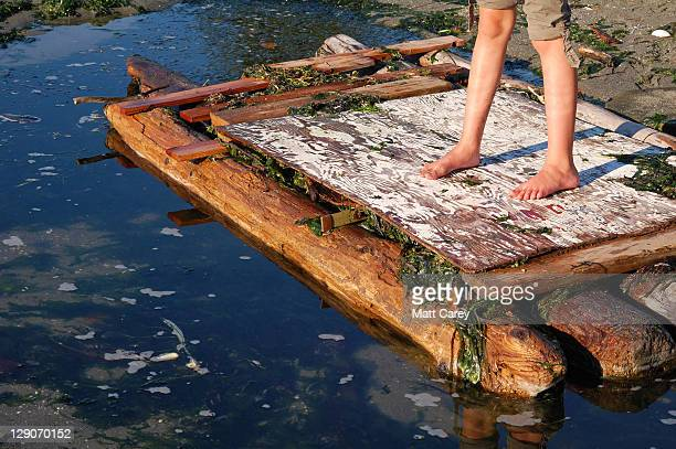 Castaway stan ding on log raft