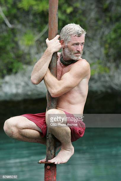 Castaway Tom Westman of the Koror tribe during the immunity challenge Bob Bob Buoy during the final episode of Survivor Palau
