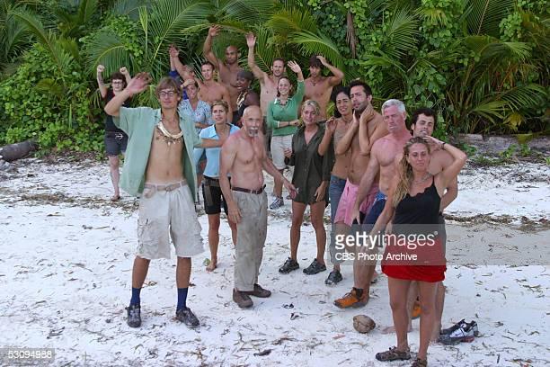 Castaways during the first episode of Survivor Palau say goodbye to Wanda Shirk and Jonathan Libby Angie Jakusz Ian Rosenberger Stephenie LaGrossa...