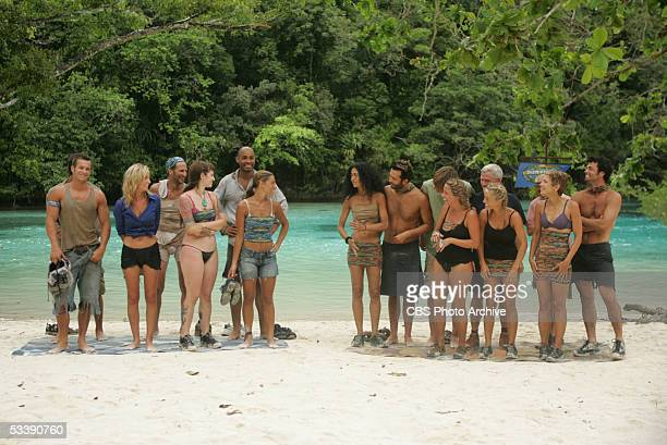 Castaways during the third episode of Survivor Palau The Ulong Tribe Jeff Wilson Kim Mullens James Willson Angie Jakusz Ibreham Rahman and Stephanie...