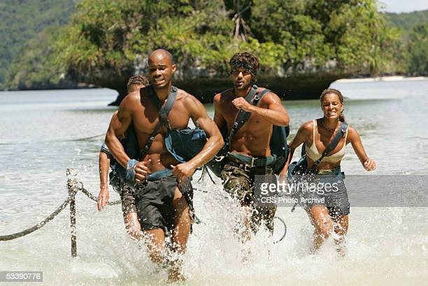 Castaways from The Ulong Tribe James Willson Ibreham Rahman Bobby Jon Drinkard and Stephanie LaGrossa during the third episode of Survivor Palau on...