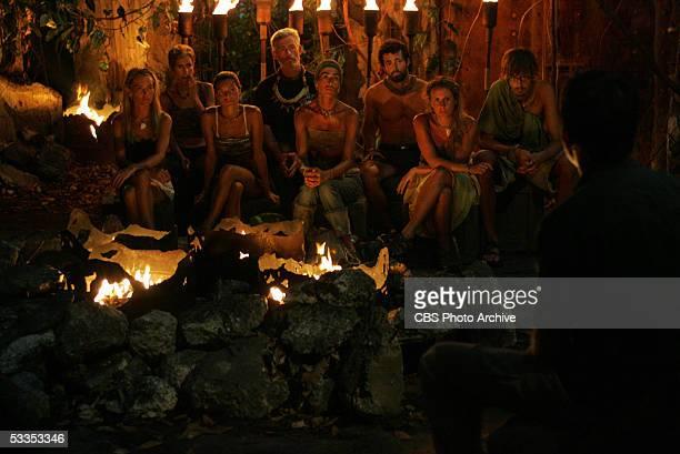 Castaways Jennifer Lyon Caryn Groedel Stephanie LaGrossa Tom Westman Janu Tornell Gregg Carey Katie Gallagher and Ian Rosenberger of the Koror tribe...