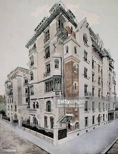 Castel Beranger in Paris design by Hector Guimard colour lithograph France 19th century Paris Bibliothèque Des Arts Decoratifs