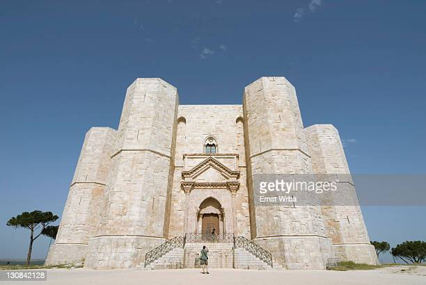 castel del monte (castle of the mount) on the top of a hill in apulia, italy - castel del monte foto e immagini stock
