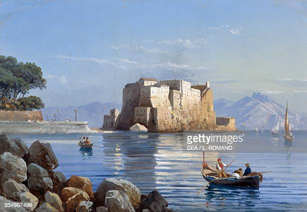 Castel dell'Ovo in Naples gouache Italy 19th century
