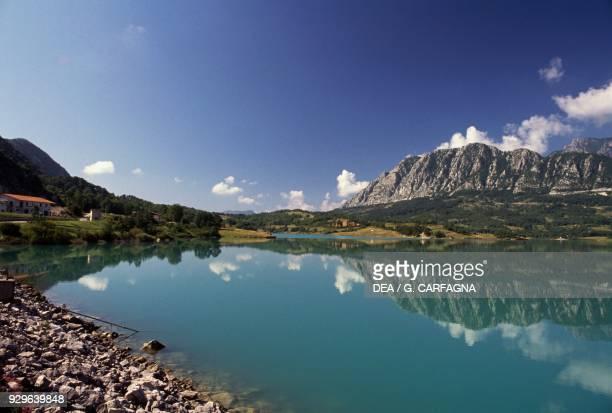 Castel San Vincenzo lake and the Mainarde mountains, Molise, Italy.