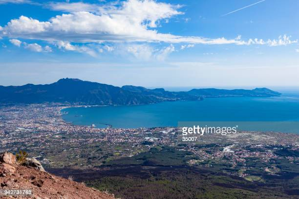 castellamare di stabia city with sorrento peninsula, italy - sorrento stock pictures, royalty-free photos & images