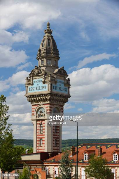castellane champagne house tower, epernay, champagne wine region - エペルネ ストックフォトと画像