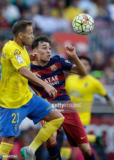 Castellano of Las palmas Munir El Haddadi of FC Barcelona during the Primera Division match between FC Barcelona and Las Palmas on September 26 2015...