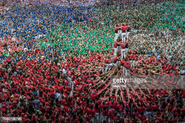 Castellers de Barcelona build a human tower during the 27th Tarragona Competition on October 07 2018 in Tarragona Spain The 'Castellers' who build...