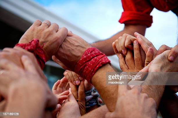castellers hands - castellers stock photos and pictures
