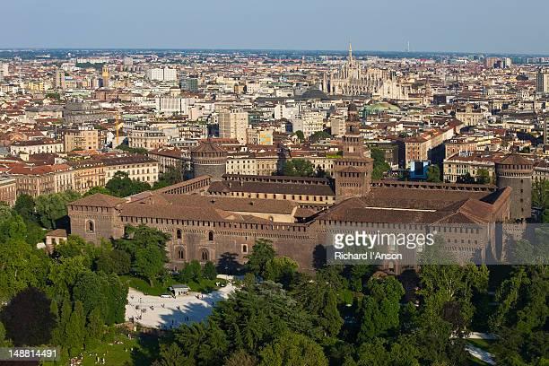 Castello Sforzesco (Sforza Castle) and city from Torre Branca (Branca Tower) in Parco Sempione (Sempione Park).