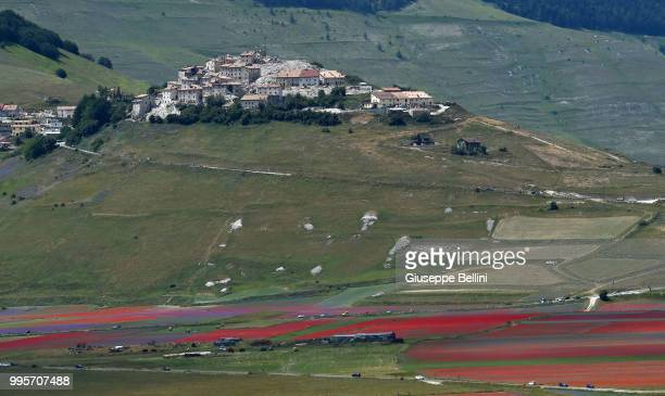 Castelluccio di Norcia during Annual Blossom in Castelluccio on July 10 2018 in Castelluccio di Norcia near Perugia Italy