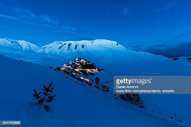 Castelluccio di Norcia in winter at twilight
