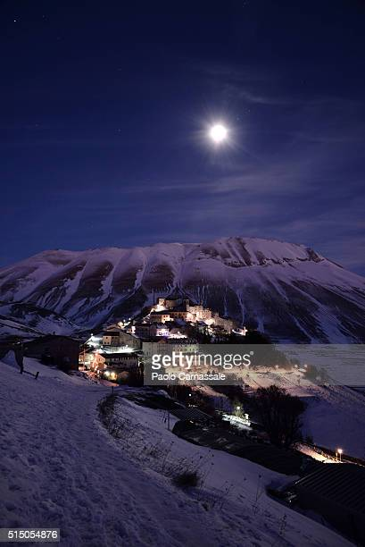 Castelluccio di Norcia snow-covered at night