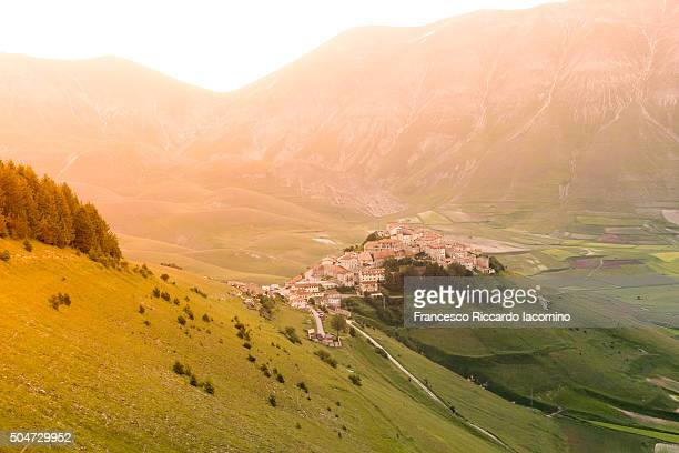 castelluccio di norcia, umbria, italy - castelluccio stock photos and pictures
