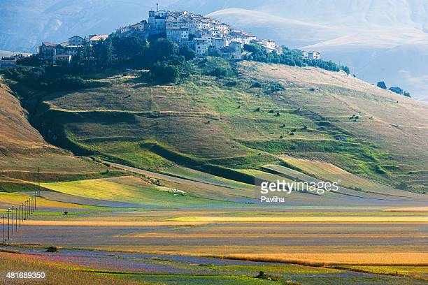 castelluccio di norcia (italy), village on a green hill - perugia stock pictures, royalty-free photos & images