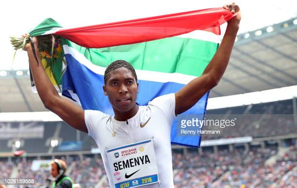 Caster Semanya of South Africa celebrates after winning the women's 1000m race during the ISTAF 2018 athletics meeting at Olympiastadion on September...