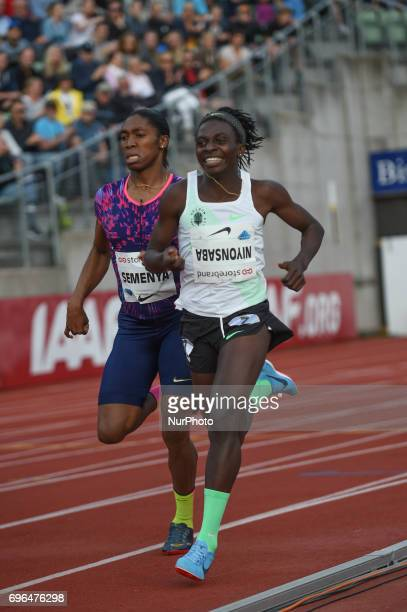 Caster Semenya and Francine Niyonsaba compete in the 800 meter during the Oslo IAAF Diamond League 2017 at the Bislett Stadium on June 15 2017 in...