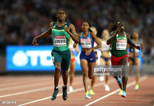 Caster Semenya of South Africa celebrates as she crosses the line to win the Womens 800 metres during day ten of the 16th IAAF World Athletics...