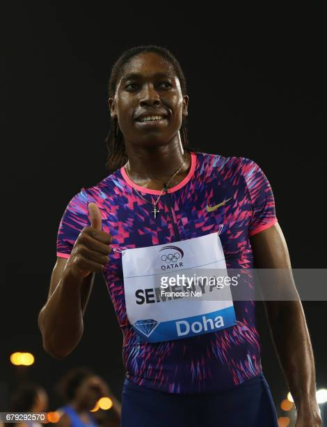Caster Semenya of South Africa celebrates victory after the Women's 800 metres during the Doha IAAF Diamond League 2017 at the Qatar Sports Club on...