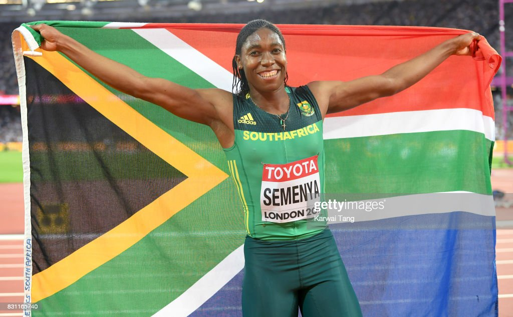 Caster Semenya of South Africa celebrates winning gold in the Women's 800 Metres final during day ten of the 16th IAAF World Athletics Championships at the London Stadium on August 13, 2017 in London, United Kingdom.