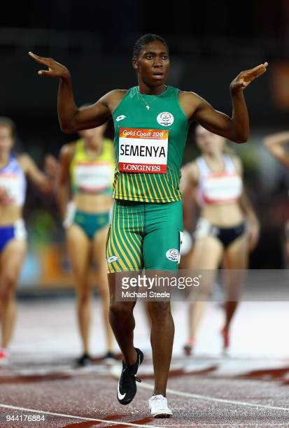 Caster Semenya of South Africa celebrates winning gold in the Women's 1500 metres final during the Athletics on day six of the Gold Coast 2018...